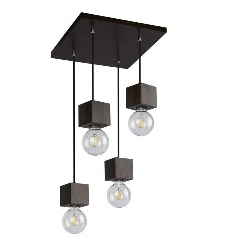 Kwadratowa drewniana lampa...