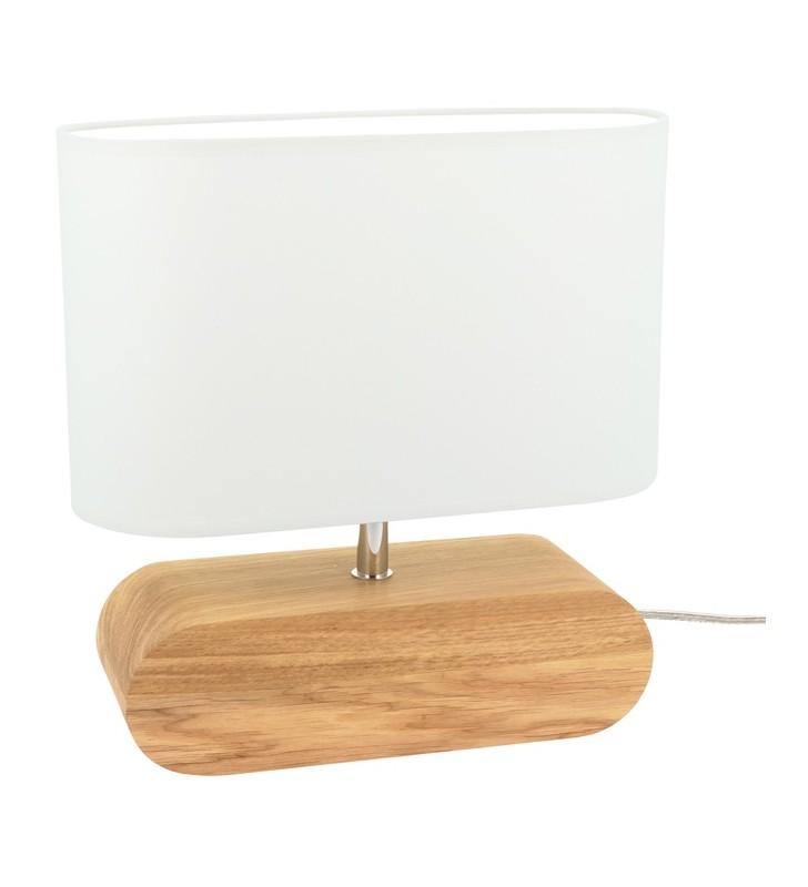 Lampa stołowa z drewnianą...