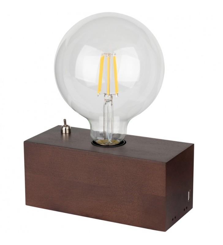 Drewniana prostokątna lampa...