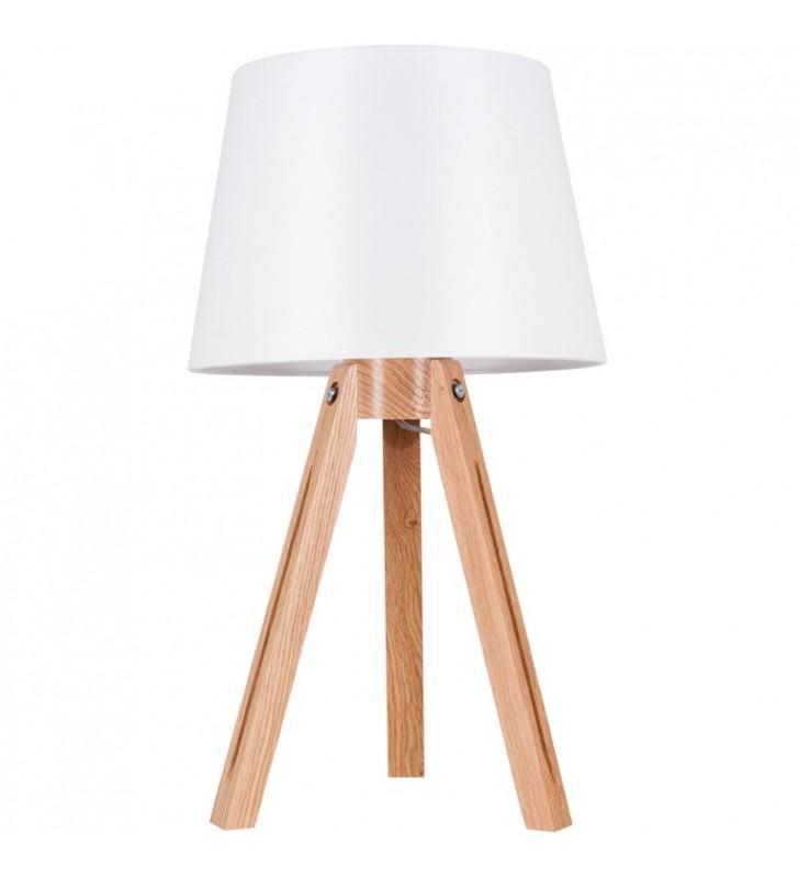Lampa stołowa na drewnianym...